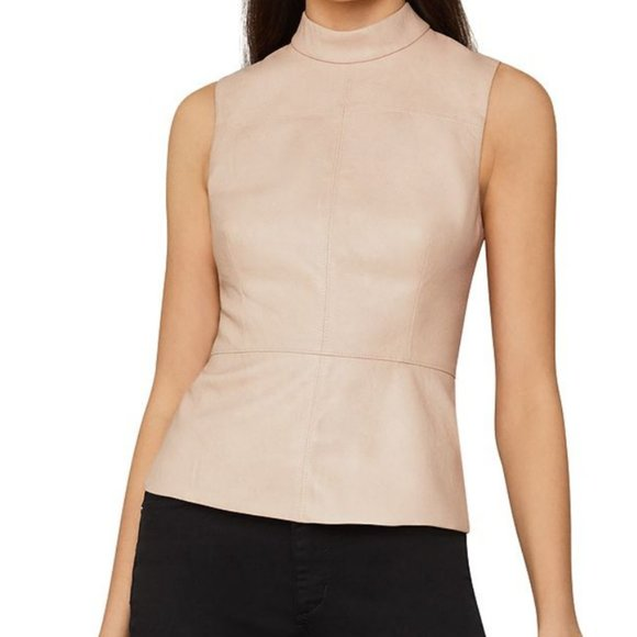 BCBGMaxazria Beige Faux Leather Top